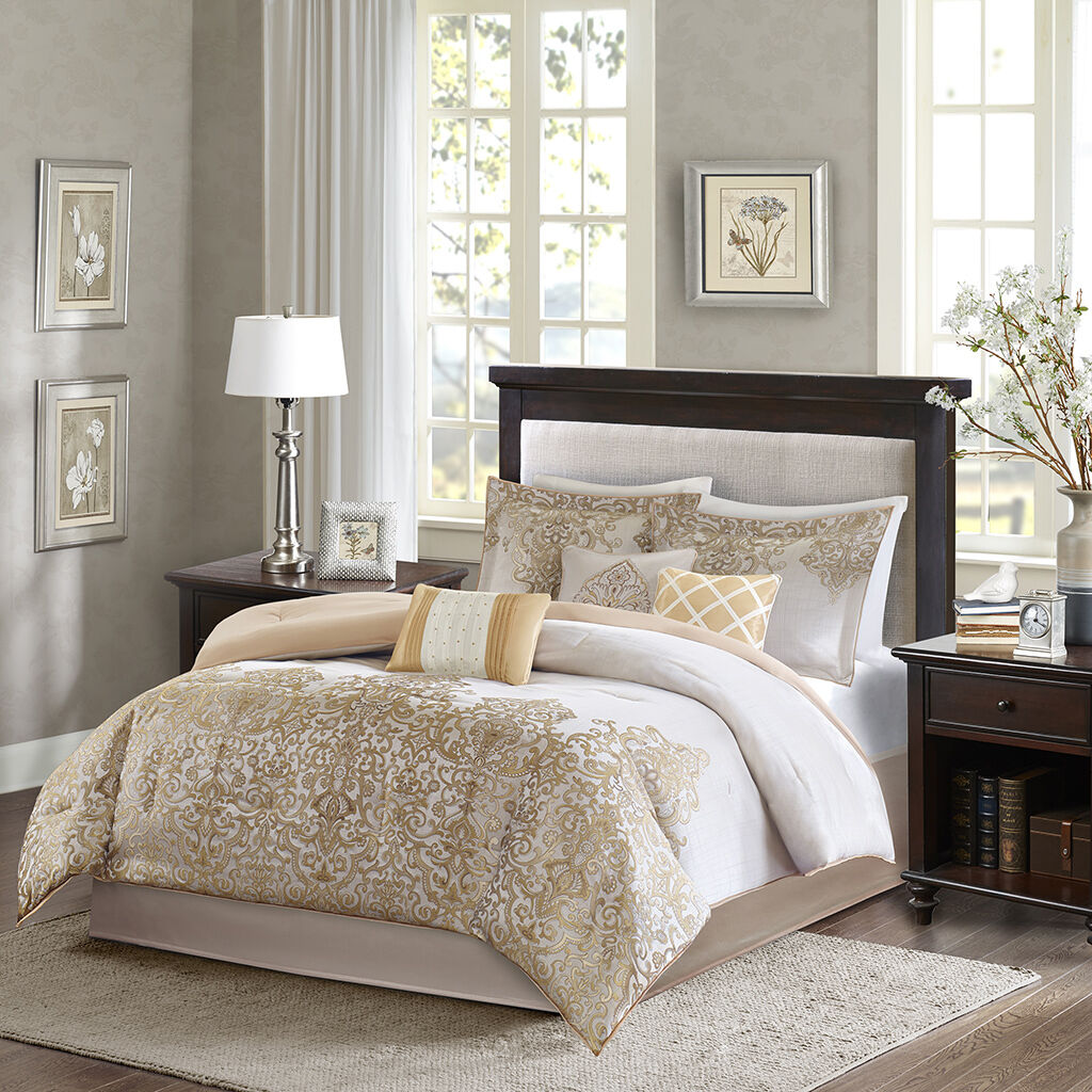 BEAUTIFUL 7PC RICH ELEGANT LUXURY Gold TAUPE BEIGE IVORY COMFORTER SET & PILLOWS