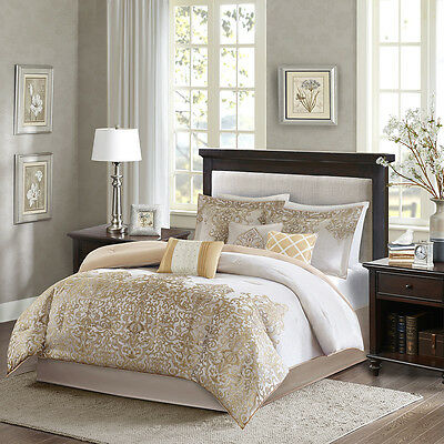 BEAUTIFUL ELEGANT IVORY WHITE TAUPE GOLD BEIGE BED IN BAG COMFORTER SET w SHEETS