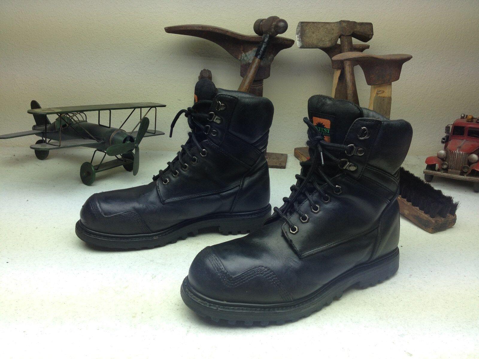 Hy-test Puntera De Acero Moto Militar Ingeniero Cuero Negro Boss botas 8.5 M