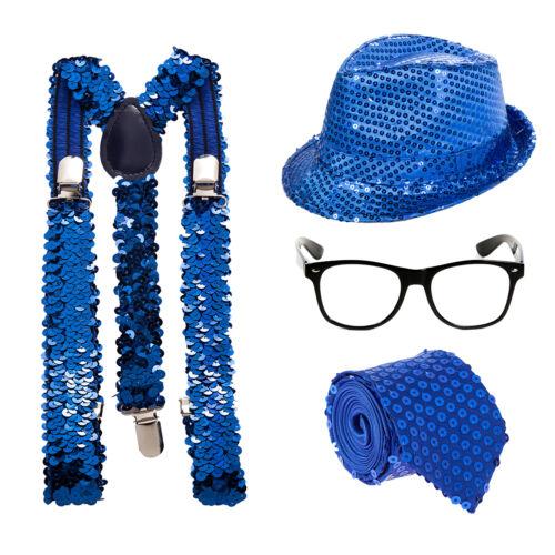 Braces Sequin Sparkle Geek Fancy Dress Kit Glasses Hat Blue Tie