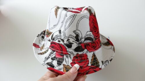 White skull rock fedora hat boys infant toddler child infant  to 6 yrs