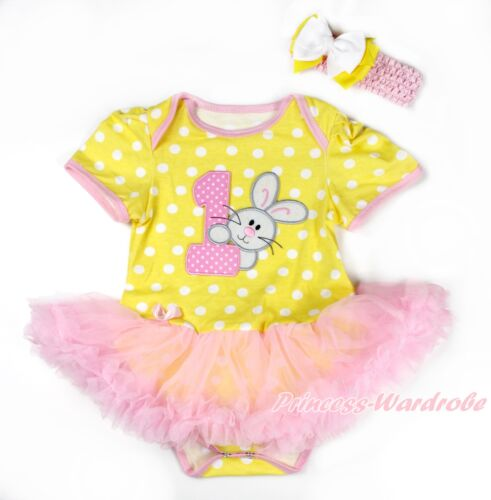 Easter 1ST Rabbit Bunny Yellow White Dots Bodysuit Pink Girl Baby Dress NB-18M