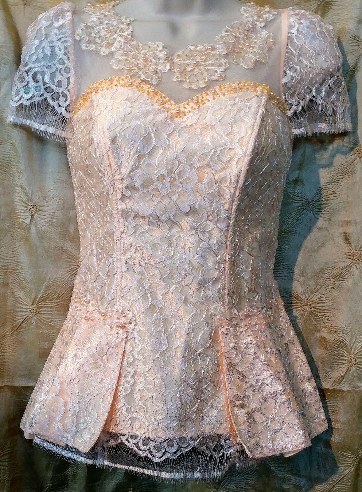 Cambodian Khmer Lace Blouse (Peach)