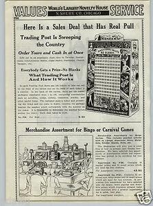 1937 PAPER AD Pioneer Trading Post Trade Stimulator Gambling Board No Blank Keno