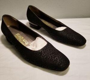 f06ae0ec609 Salvatore Ferragamo black suede closed toe pumps Women s heels shoes ...