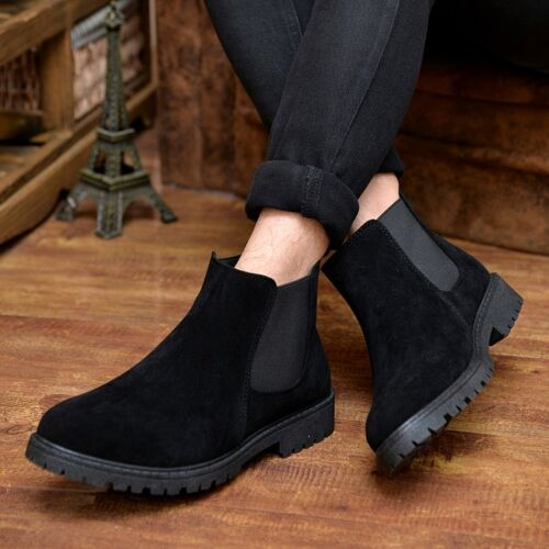 Retro Men/'s Chelsea Boots Casual Pull On Faux Suede Ankle Boots HOT Englon Shoes