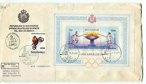 DéVoué 1984 Fdc San Marino Olimpiadi Los Angeles Motocross Raccomandata First Day Cover