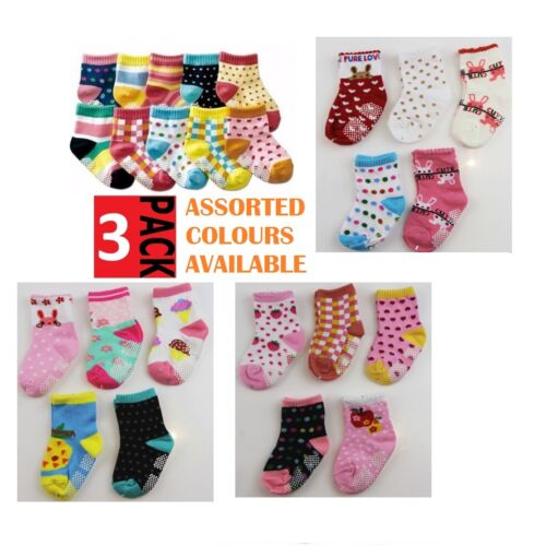 3 PACK x BABY GIRLS SOCKS Sockettes Newborn Kid Cotton Anti Slip