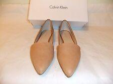 CALVIN KLEIN Harmonia Tan Leather Flat Ballet Size 7.5 EU 37.5 NIB $99