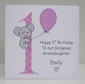 Image Is Loading Personalised Girls 1st Birthday Card Daughter Granddaughter Niece