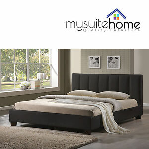 Paris Pu Leather Simple Design Double Queen King Size Bed Frame With