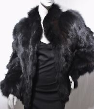Incredible Warm Genuine Black w Brown Soft Goat Fur Apres Jacket Coat Sz 10/12 M
