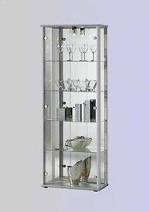glasvitrine vitrinenschrank mit spiegel beleuchtet in alu silber f r sammler. Black Bedroom Furniture Sets. Home Design Ideas
