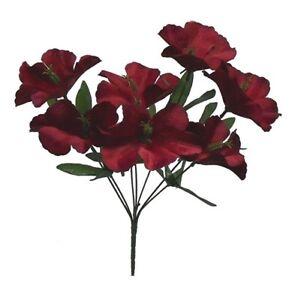 5 Hibiscus WINE BURGUNDY Silk Wedding Flowers Bridal Bouquets Centerpieces