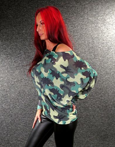 Femmes Tricot Pull Pull Print S M L XL ZAZOU Pull Chauve-souris Manches z115
