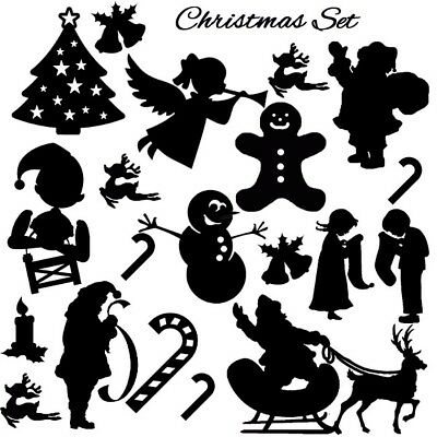 Die cut outs Silhouette Shapes Christmas Xmas toppers set card making scrapbook