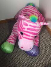 "Goffa Jumbo 50"" Plush Zebra Horse SPARKLES Pink Rainbow Stuffed Animal"