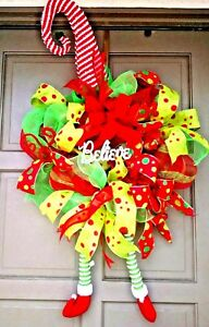 X-Large-Christmas-Holiday-Elf-Hat-amp-Legs-Deco-Mesh-BELIEVE-Wreath-Door-Decor