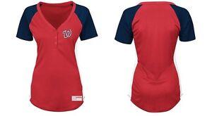 17a58572d MLB Majestic Washington Nationals Women s League Diva V-Neck Henley ...