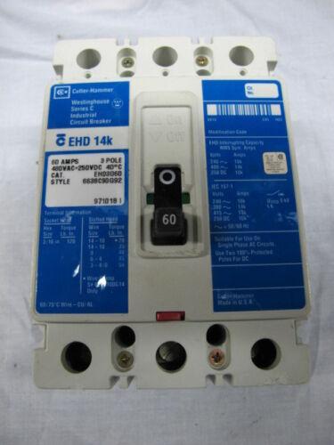 CUTLER HAMMER EHD 14K BREAKER 60 AMP 480 VAC 3 POLE MODEL EHD3060 **WARRANTY!**