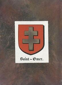 ANTIQUE-SAINT-OMER-FRANCE-HERALDRY-CREST-PRINT-ACEO-NEW-BLACK-PAPER-COAT-OF-ARMS