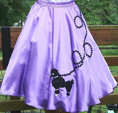 """New Lavender SATIN 50's Poodle Skirt Adult Plus Size  XL Waist 40""""-48"""""""