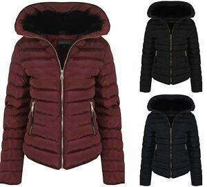 Womens Wine With Thick Coat Padded Jacket Warm Zip Quilted Black