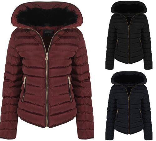 Da Donna Vino con spessore Cappotto Giacca imbottita Caldo Zip Trapuntato Inverno Nero UK 8-16
