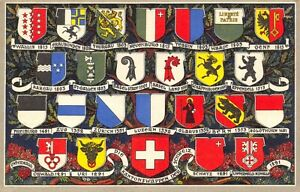 Vintage-Switzerland-Postcard-Coats-of-Arms-Badges-Flags-DP1