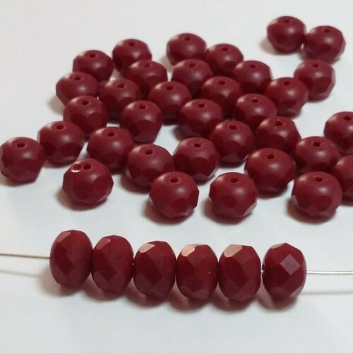 10pcs Opaque Burgandy Red Czech Glass Rondelle Beads Faceted 6x8mm GB209