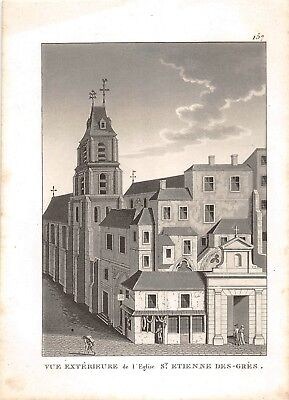 View Outdoor L' Eglise St.etienne Sandstone 1840 Other Antiques Engraving View Paris