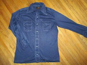 2019 Nouveau Style Vintage Années 70 Hommes Van Cort Chemise Polyester Bleu Marine Disco