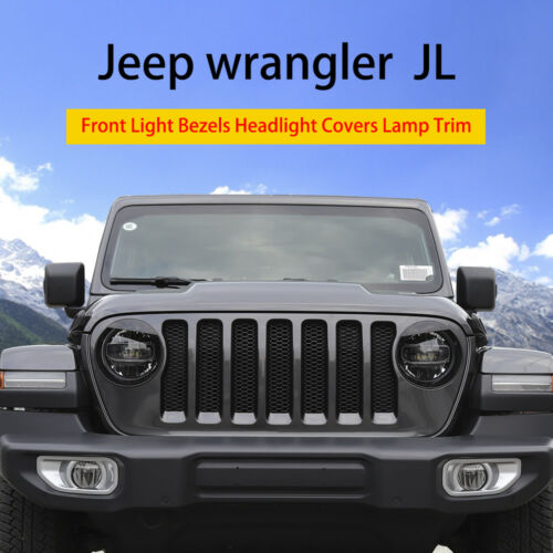 For 2018 Jeep Wrangler JL Pair Angry Bird Headlight Bezels Decorative Trim Cover