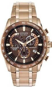 NEW-Citizen-Eco-Drive-Men-039-s-AT4106-52X-Perpetual-Chrono-A-T-Rose-Gold-Tone-Watch