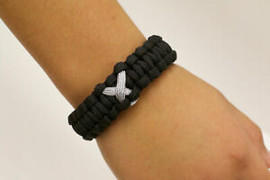 Paracause-Awareness-Ribbon-Paracord-Survival-Bracelet-Black-Grey
