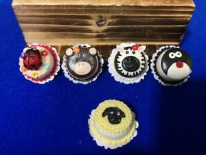 5Handmade-Miniature-Dollhouse-Cartoon-Animal-Cakes-Clay-5-pcs-L