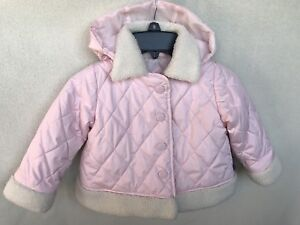 7c0504efa Details about London Fog Baby Girls Pink Quilted Coat Puffer Jacket Size 12  MO Removable Hood