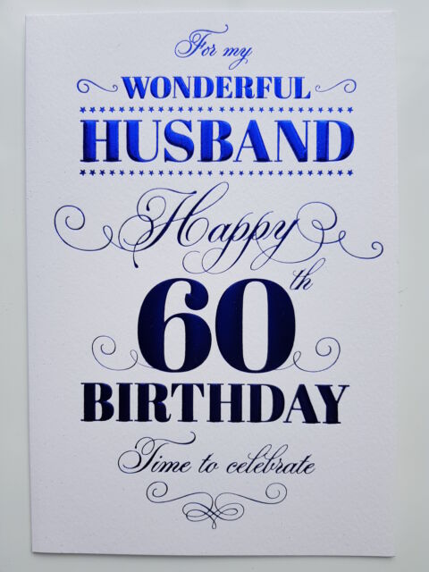 For My Wonderful Husband On Your 60th Birthday Card