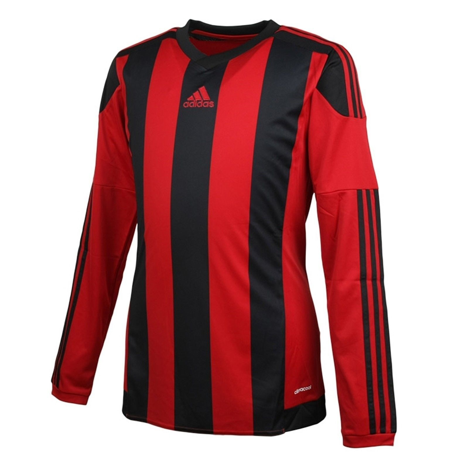 Adidas Men Stripe 15 Climacool Soccer Football Fitness Top Red L S Jersey AA3725