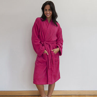 Brillant Comfy Co Bath Robe Unisex Dressing Gown Comfy Soft 100% Cotton Kimono Style New