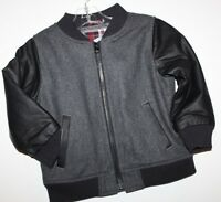 Baby Gap Boy Gray Wool Bomber Jacket Faux Leather Sleeves