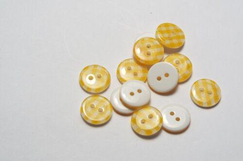 10pc 13mm Sunshine Yellow Gingham Cardigan Trouser Shirt Kids Baby Button 0474