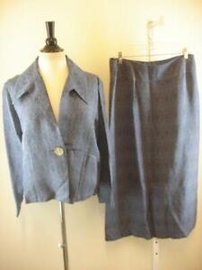 NWT-J-Jill-Womens-2-Pc-Suit-Outfit-Purple-Long-Skirt-sz-14-Jacket-Blazer-Top-L