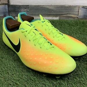 UK9-Nike-Magista-Ola-II-FG-Scarpe-da-Calcio-Giallo-Brillante-Modellato-Borchie-EU44