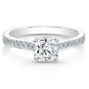 0.66 Ct Cushion Moissanite Engagement Brilliant Ring 18K Solid White Gold Size 4