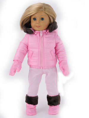 """Pink Snow Suit Jacket Boots Coat Gloves Doll Clothes Fits 18"""" American Girl 4 PC"""