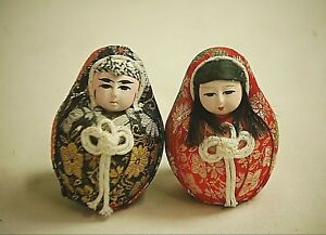 Details about Vintage Japanese Wedding Doll Couple Roly Poly Doll Hime  Daruma Gofun Face Asian