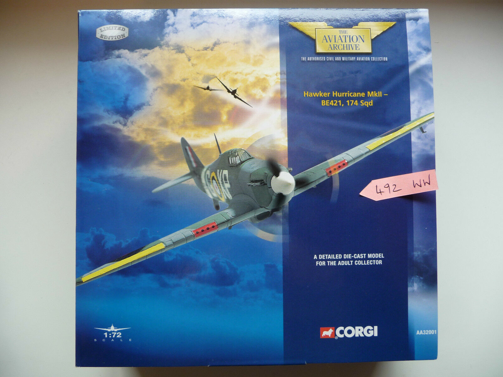 Corgi Aviation AA32001 - Hawker Hurricane Mkll - BE421, 174 Squadron - MIB.