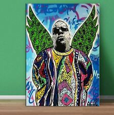 "Alec Monopoly Brainwash Oil Painting on Canvas Graffiti art Notorious BIG 28x40"""