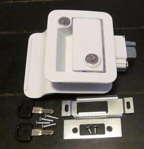 White RV Entry Door Lock Handle Knob Deadbolt Keys Camper